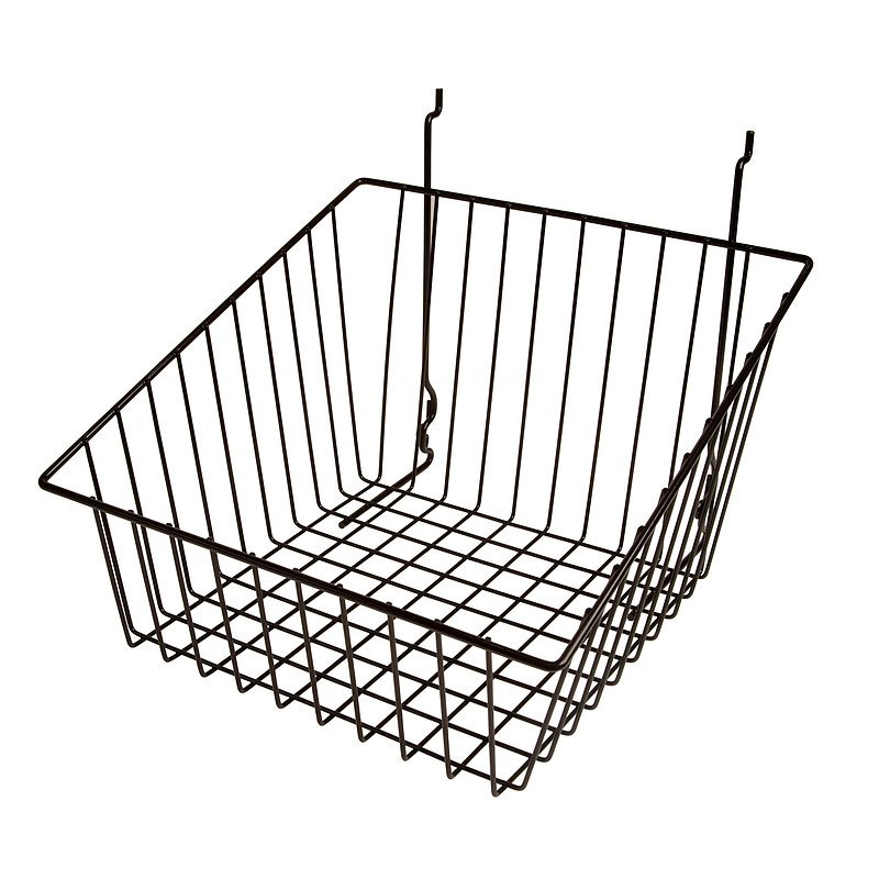12W X 12D X 8L SLOPED FRONT BASKET BLACK