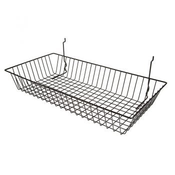 24W X 12D X 4 H SHALLOW BASKET:BLACK