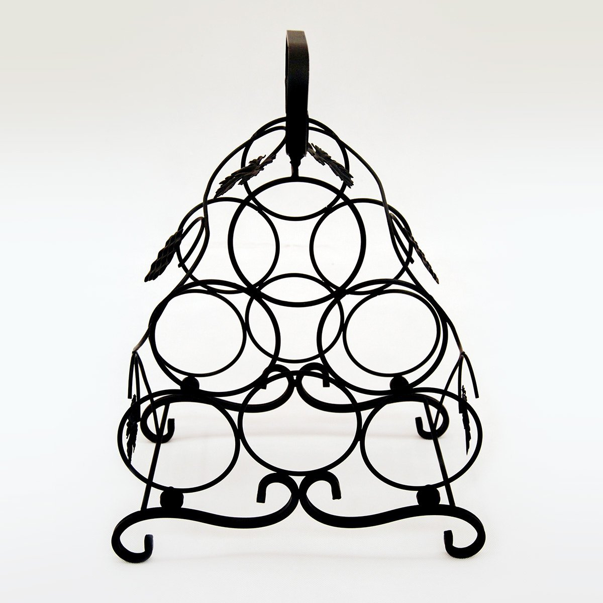 6 bottle black iron rack