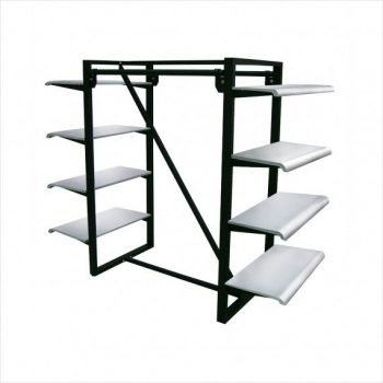 parallel bar 8 shelves merchandiser white