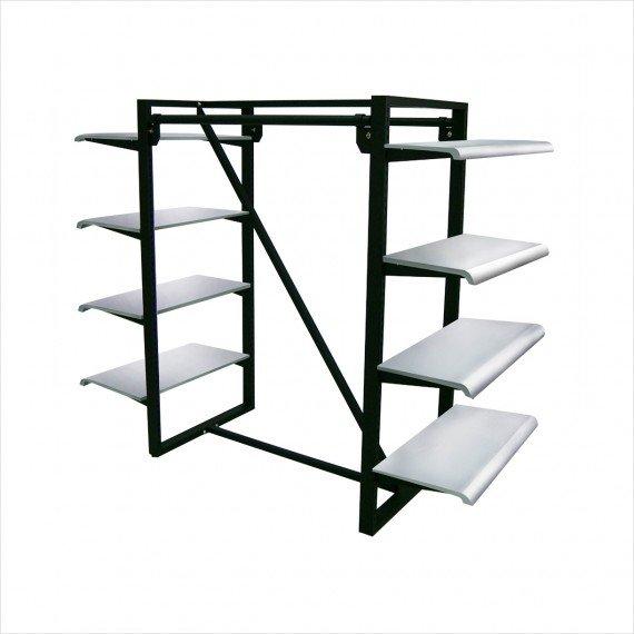 parallel bar 8 shelves merchandiser white