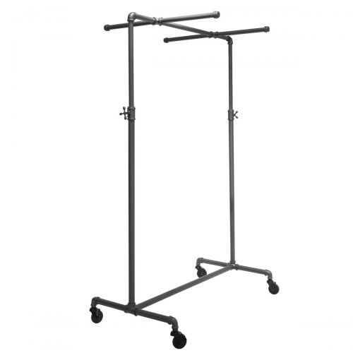 "41"" Wide Pipeline Adjustable Rolling Rack with Two Cross Bars"