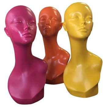 3 colour heads mannequins