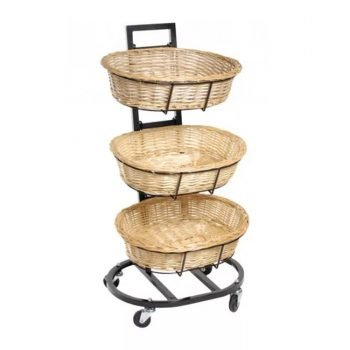 3 Tier Oval Wicker Baskets Display